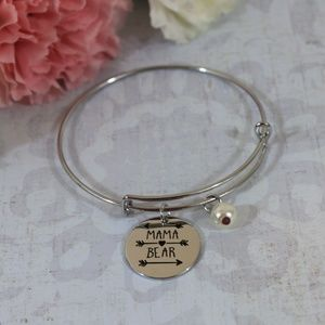 Jewelry - Mama Bear Silver Pearl Bracelet
